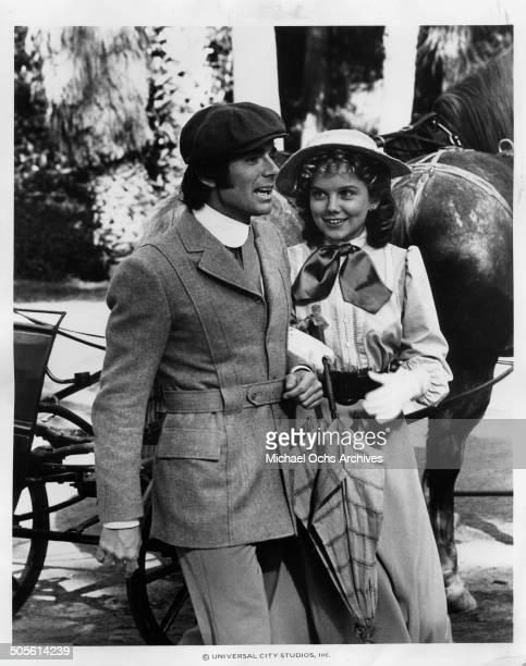 David Birney and Linda Purl walk in a scene for the TVMini Series Testimony of Two Men circa 1977