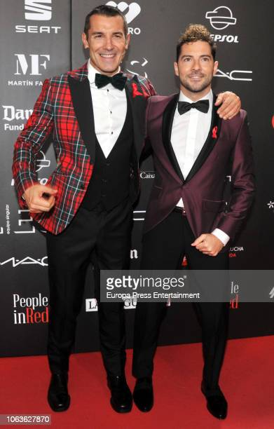 David Bisbal and Jesus Vazquez during the photocall for 'People in Red' gala held at the Museu Nacional d'Art de Catalunya on November 19 2018 in...