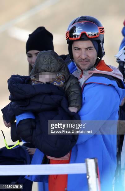 David Bisbal and Matteo Bisbal Zanetti are seen on January 04 2020 in Baqueira Beret Spain