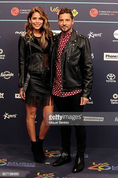 David Bisbal and Rosanna Zanetti attend the red carpet of Los 40 Music Awards 2016 at Palau Sant Jordi on December 1 2016 in Barcelona Spain
