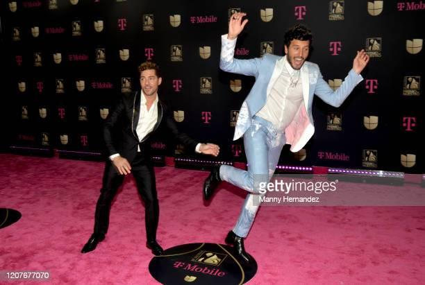 David Bisbal and Sebastian Yatra attends Univision's Premio Lo Nuestro 2020 at AmericanAirlines Arena on February 20 2020 in Miami Florida