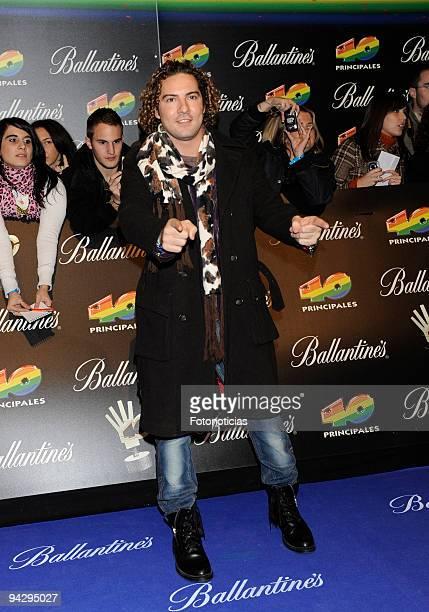 David bisbal arrives at the ''40 Principales'' Awards at the Palacio de Deportes on December 11, 2009 in Madrid, Spain.