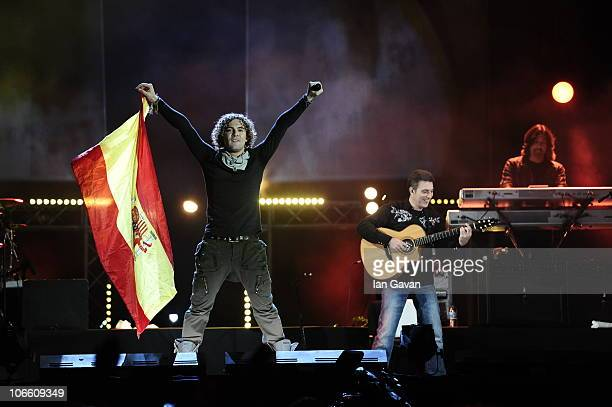 David Bisbal performs at the MTV Spain Outisde Broadcast at Puerta Del Alcala on November 6 2010 in Madrid Spain