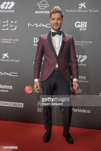 David Bisbal poses during a photocall for 'People in Red' gala held at the Museu Nacional d'Art de Catalunya on November 19 2018 in Barcelona Spain