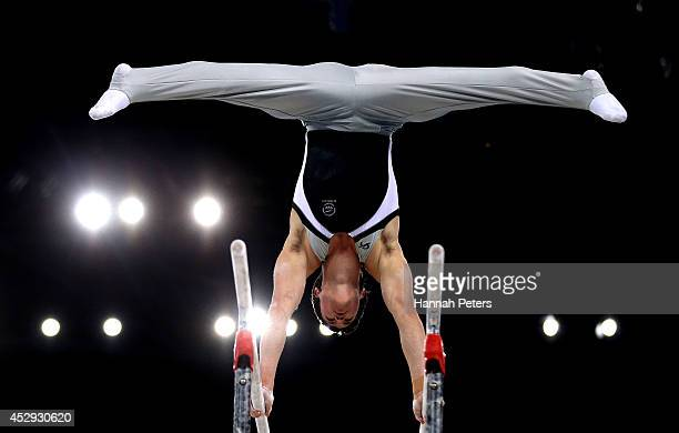 David Bishop of New Zealand competes in the Men's AllAround Final at the SSE Hydro during day seven of the Glasgow 2014 Commonwealth Games on July 30...