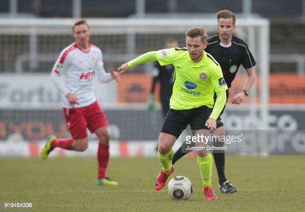 David Blacha of Wiesbaden controls the ball during the 3 Liga match between SC Fortuna Koeln and SV Wehen Wiesbaden at Suedstadion on February 17...