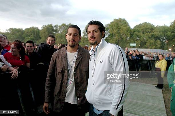 David Blaine and brother during Red Hot Chili Peppers Live in Concert June 19 2004 at Hyde Park in London England Great Britain