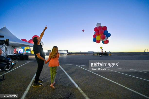 """David Blaine and Dessa Blaine before the stunt """"Ascension"""" on September 02, 2020 in Page, Arizona."""