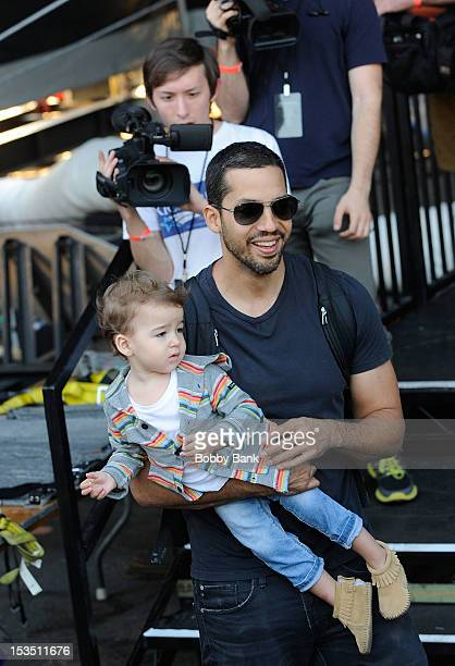 David Blaine and his daughter Dessa Blaine seen during the Electrified One Million Volts Always On at Pier 54 on October 5 2012 in New York City
