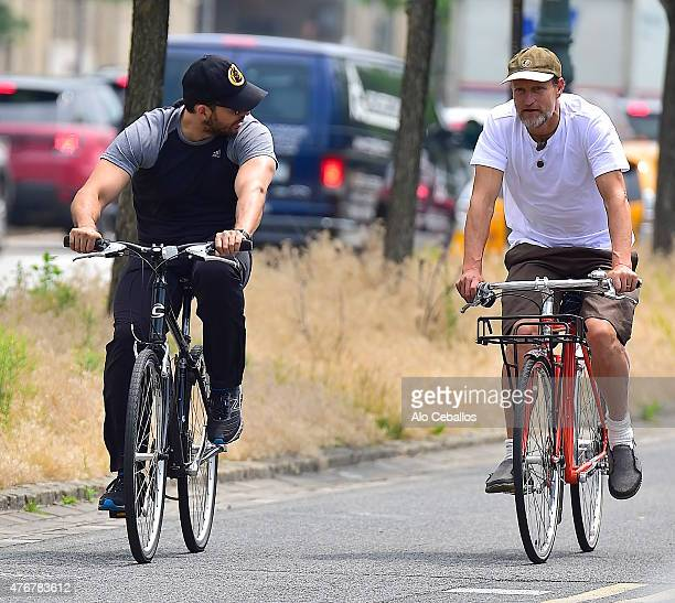 David Blaine and Woody Harrelson are seen on the West Side Highway on June 11 2015 in New York City