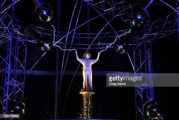 David Blaine attends the 'Electrified One Million Volts Always On' Stunt at Pier 54 on October 5 2012 in New York City