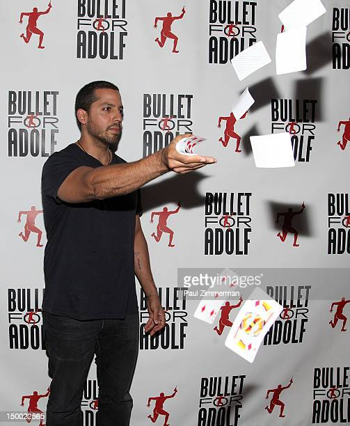 David Blaine attends the OffBroadway opening night of 'Bullet for Adolf' at New World Stages on August 8 2012 in New York City