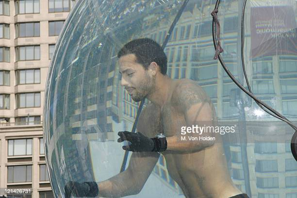 David Blaine during David Blaine Underwater in a Glass Bubble Day Five at Lincoln Center in Manhattan New York United States