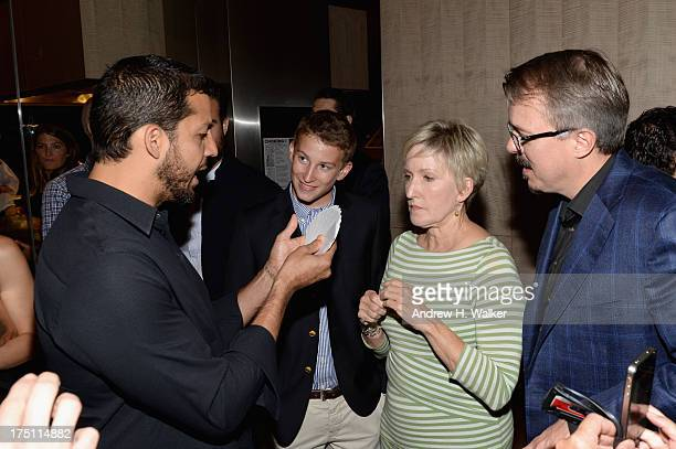 David Blaine Holly Rice and Vince Gilligan attend the 'Breaking Bad' NY Premiere 2013 after party at Lincoln Ristorante on July 31 2013 in New York...