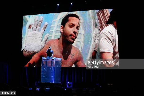 David Blaine prebreathes pure oxygen on stage before holding his breath underwater for over ten minutes at ACL Live on July 18 2017 in Austin Texas