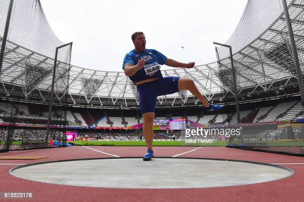 David Blair of the USA competes in the Men's Discus Throw F44 Final during day three of the IPC World ParaAthletics Championships 2017 at the London...