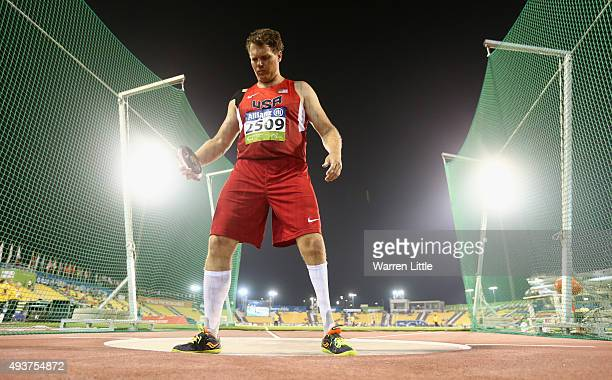 David Blair of USA in action during the men's discus F44 final during the Evening Session on Day One of the IPC Athletics World Championships at...