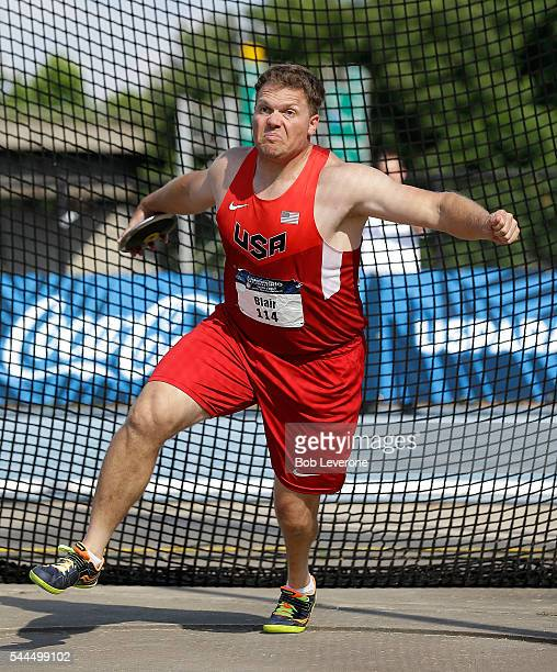 David Blair prepares to release a throw in the Men's Discus competition during the 2016 US Paralympics Trials in Track and Field at Irwin Belk...