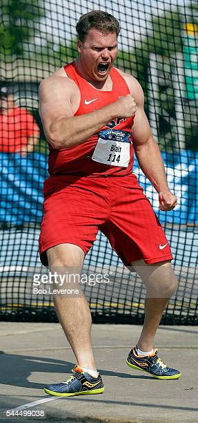 David Blair reacts to one of his throws in the Men's Discus competition at Irwin Belk Complex at Johnson C Smith University on July 2 2016 in...