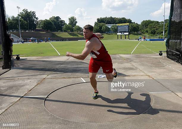David Blair winds up in the Men's Discus Throw during the 2016 US Paralympics Trials in Track and Field at Irwin Belk Complex at Johnson C Smith...
