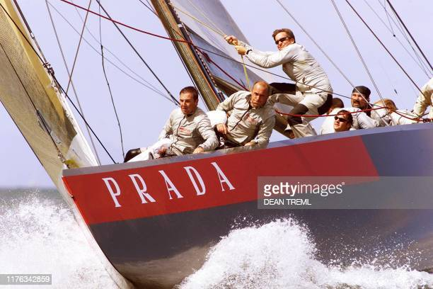 David Blanchfield, Massimilianoo Sirena and Michele Ivaldi of the Italian syndicate Prada haul in the headsail as they prepare to set the spinnaker...
