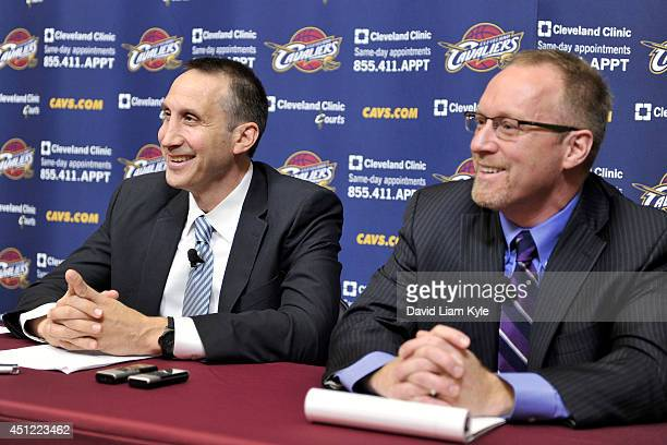 David Blatt addresses the media as he is named Head Coach of the Cleveland Cavaliers alongside General Manager David Griffin at a press conference at...