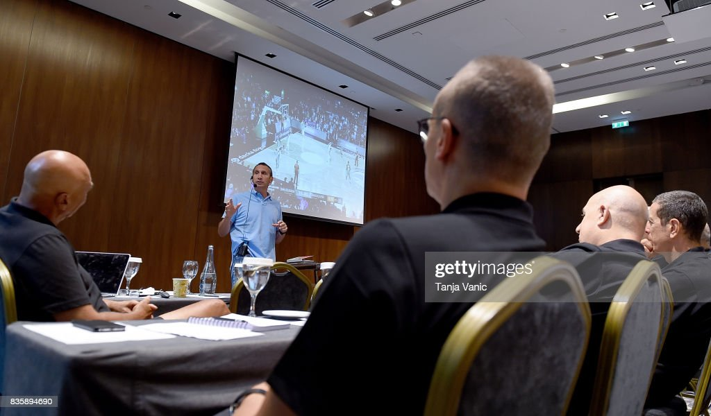 David Blatt, Darussafaka Head Coach, addresses to the participants during the 26th Clinic for Euroleague Basketball Officials at Metropol Palace Hotel on August 20, 2017 in Belgrade, Serbia.