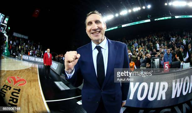 David Blatt Head Coach of Darussafaka Dogus Istanbul celebrates victory during the 2016/2017 Turkish Airlines EuroLeague Regular Season Round 30 game...