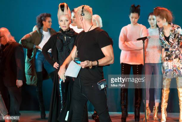 David Blond and Daphne Guinness seen on the runway during rehersal at The Blonds fashion show during New York Fashion Week The Shows at Spring...