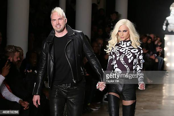 David Blond and Phillipe Blond walk the runway during The Blonds fall 2015 fashion show during Fall 2015 MercedesBenz Fashion Week at Milk Studios on...