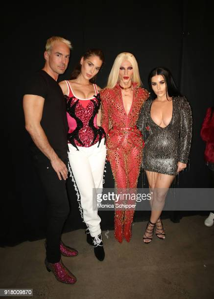 David Blond Carmen Carrera Phillipe Blond and Amra Olevic pose backstage for The Blonds during New York Fashion Week The Shows at Gallery I at Spring...