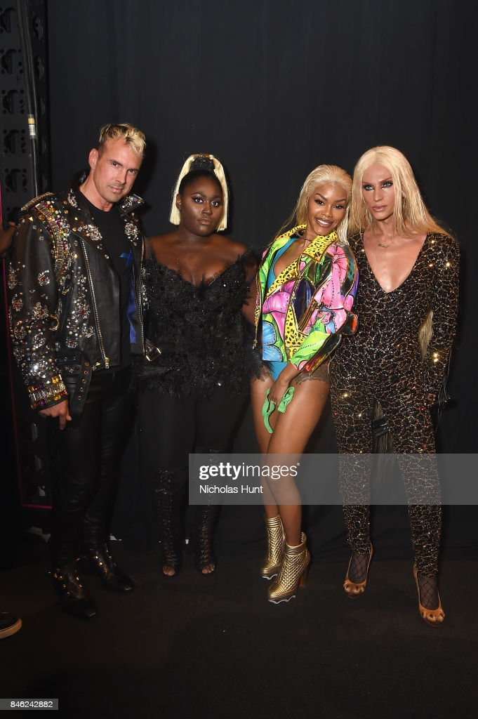 David Blond, Danielle Brooks, Teyana Taylor and Phillipe Blond poses backstage for The Blonds fashion show during New York Fashion Week: The Shows at Gallery 1, Skylight Clarkson Sq on September 12, 2017 in New York City.