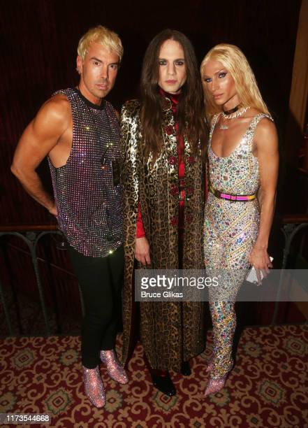 David Blond Jordan Roth and Philippe Blond pose at The Blonds x Moulin Rouge The Musical Fashion Show at The Al Hirschfeld Theatre on September 9...
