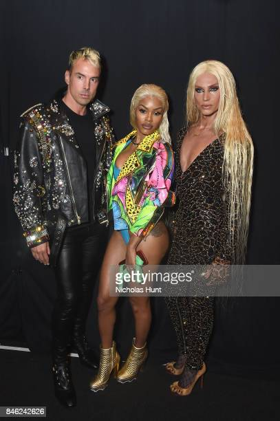 David Blond Teyana Taylor and Phillipe Blond pose backstage for The Blonds fashion show during New York Fashion Week The Shows at Gallery 1 Skylight...