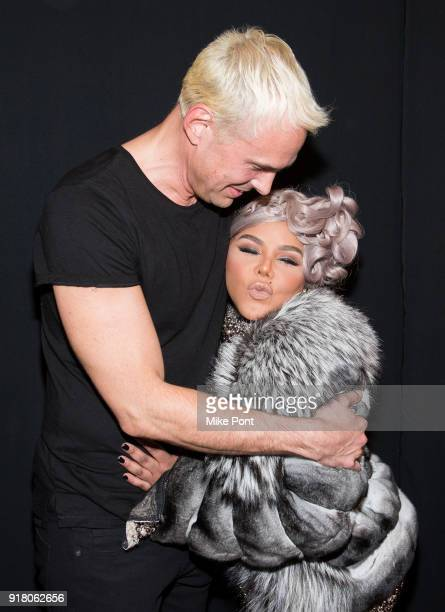 David Blonde and Lil' Kim seen backstage at The Blonds fashion show during New York Fashion Week The Shows at Spring Studios on February 13 2018 in...