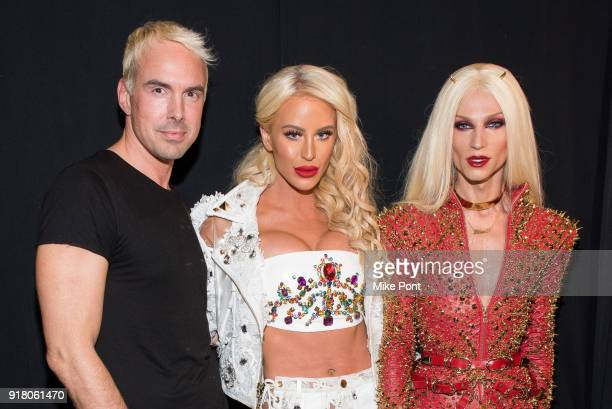 David Blonde Gigi Gorgeous and Phillippe Blonde pose backstage at The Blonds fashion show during New York Fashion Week The Shows at Spring Studios on...