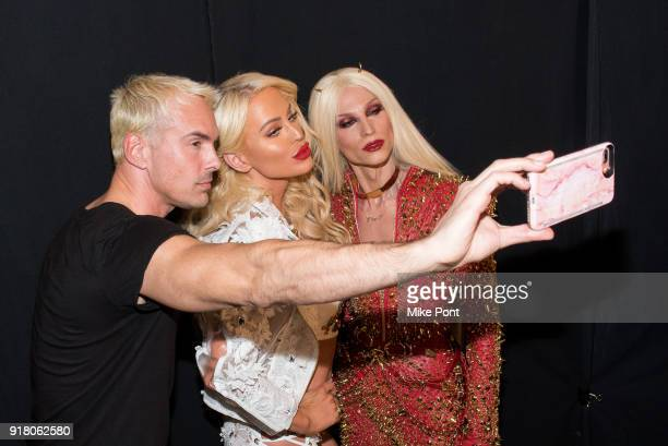 David Blonde Gigi Gorgeous and Phillippe Blonde pose for a selfie backstage at The Blonds fashion show during New York Fashion Week The Shows at...