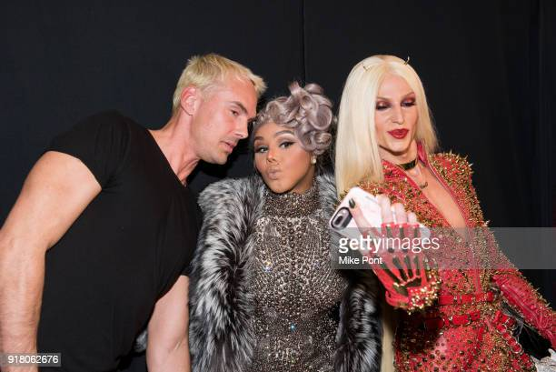David Blonde Lil' Kim and Phillippe Blonde pose backstage at The Blonds fashion show during New York Fashion Week The Shows at Spring Studios on...