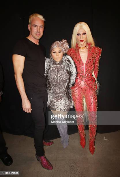 David Blonde Lil' Kim and Phillippe Blonde pose backstage for The Blonds during New York Fashion Week The Shows at Gallery I at Spring Studios on...