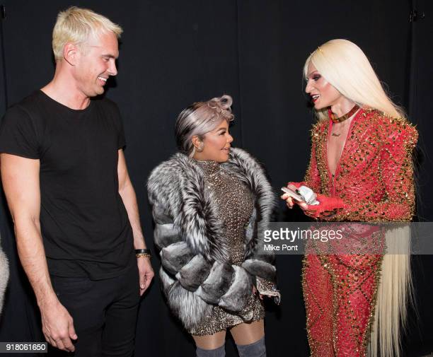 David Blonde Lil' Kim and Phillippe Blonde seen backstage at The Blonds fashion show during New York Fashion Week The Shows at Spring Studios on...