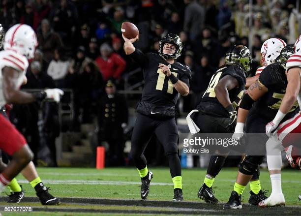 David Blough of the Purdue Boilermakers passes the ball during the first quarter of the game between the Purdue Boilermakers and the Nebraska...