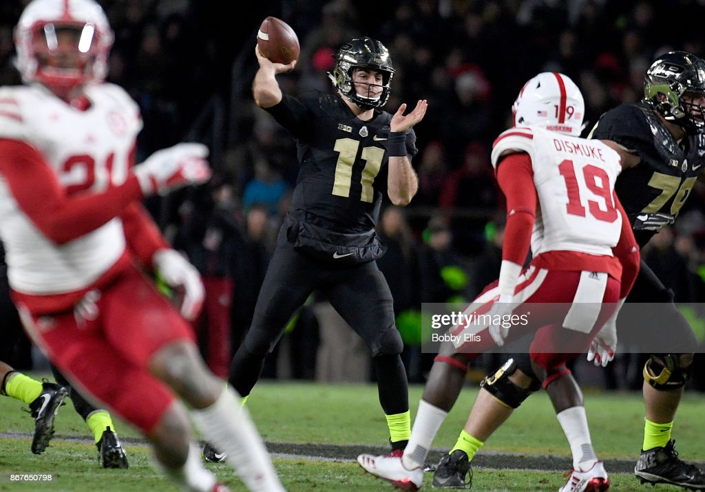 David Blough #11 of the Purdue Boilermakers passes the ball in the fourth quarter of the game between the Purdue Boilermakers and the Nebraska Cornhuskers at Ross-Ade Stadium on October 28, 2017 in West Lafayette, Indiana.