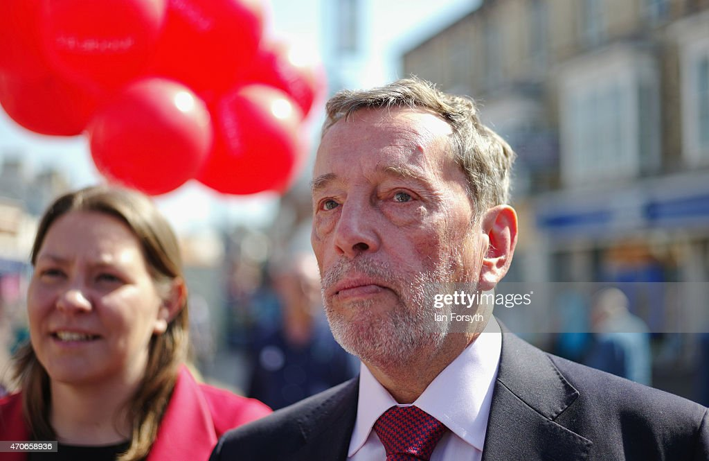 David Blunkett, veteran Labour politician and former Home Secretary, Education Secretary and Work and Pensions Secretary in the previous Labour government joins the Labour candidate for Redcar Anna Turley (L) on a campaigning visit on April 22, 2015 in Redcar, England. The visit to this key marginal seat comes ahead of what is predicted to be the closest fought General Election which takes place on May 7.