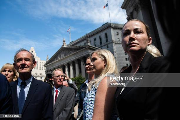 David Boies attorney representing several of Jeffrey Epstein's alleged victims left exits federal court with Virginia Giuffre second right and...