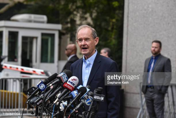 David Boies lawyer for one of the alleged victims speaks outside the courthouse after billionaire financier Jeffery Epstein appeared for a hearing on...