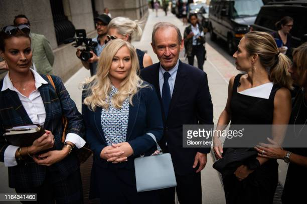 David Boies representing several of Jeffrey Epstein's alleged victims center arrives with Annie Farmer second right and VirginiaGiuffre alleged...