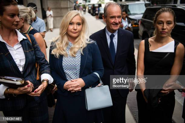 David Boies representing several of Jeffrey Epstein's alleged victims center arrives with Annie Farmer right and VirginiaGiuffre alleged victims of...