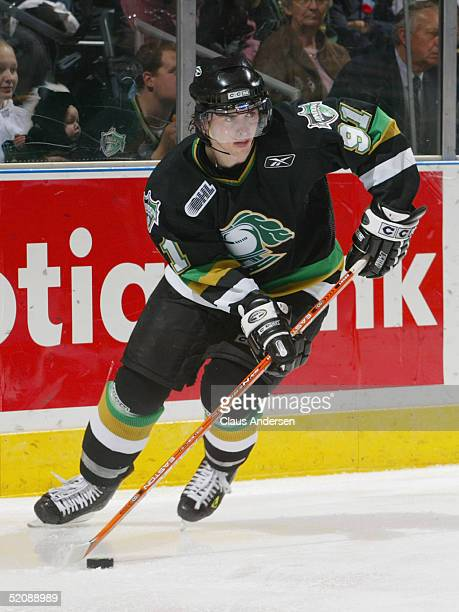 David Bolland of the London Knights looks to make a play against the Erie Otters during the Ontario Hockey League game at John Labatt Centre on...