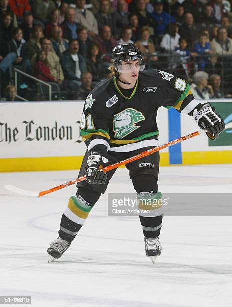 David Bolland of the London Knights skates against the Owen Sound Attack during an OHL game at the John Labatt Center on October 15 2004 in London...