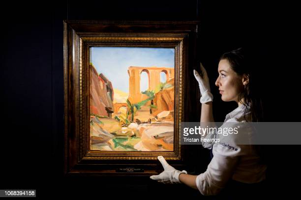 David Bomberg's 'The Broken Aqueduct Wadi Kelt near Jericho' goes on view at Sotheby's on November 16 2018 in London England To be sold as part of a...
